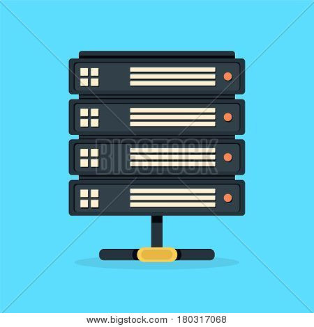Server data center icon. Network and internet communication technology concept, data center interior, server racks with telecommunication equipment in server room, 3d illustration