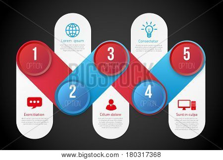 Infographics with 5 steps milestone, colorful blue and red bright design, vector template