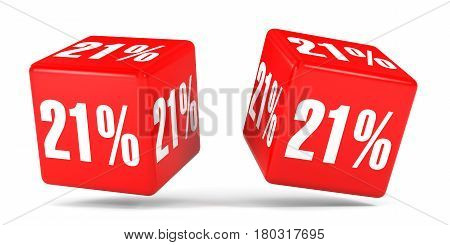 Twenty One Percent Off. Discount 21 %. Red Cubes.
