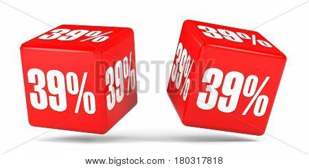 Thirty Nine Percent Off. Discount 39 %. Red Cubes.