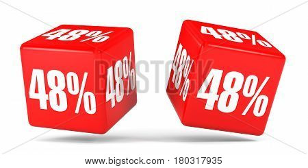 Forty Eight Percent Off. Discount 48 %. Red Cubes.