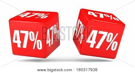 Forty Seven Percent Off. Discount 47 %. Red Cubes.