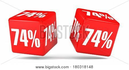 Seventy Four Percent Off. Discount 74 %. Red Cubes.