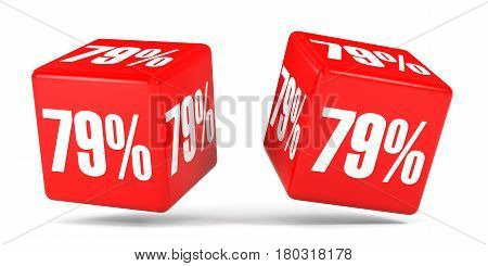 Seventy Nine Percent Off. Discount 79 %. Red Cubes.