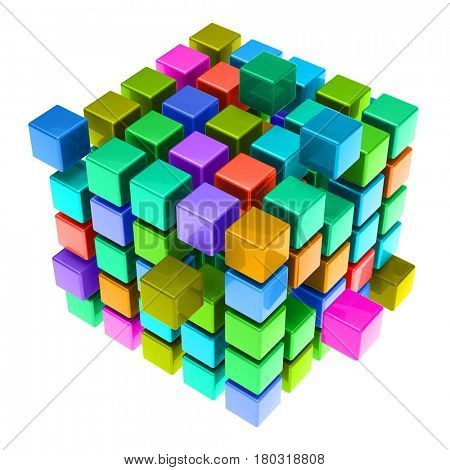 Colorful 3D cubic jigsaw puzzle as teamwork and cooperation concept (3D Rendering)