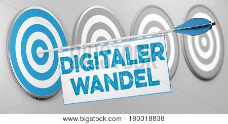 German slogan Digitaler Wandel (digital transformation) as digitalization concept (3D Rendering)
