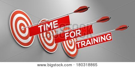 Time for training slogan on target as apprenticeship or workshop concept (3D Rendering)