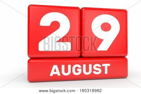 August 29. Calendar On White Background.