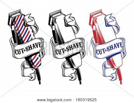 collection hair clippers isolated on white. Engraving style