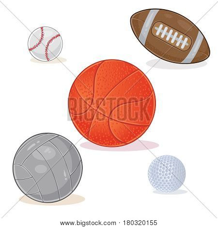 set of sports balls isolated on white background.