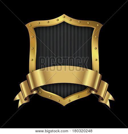 Golden riveted shield and elegant golden ribbon on black background.
