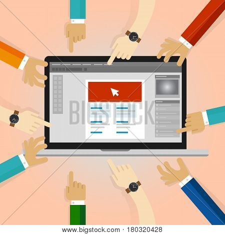 client review graphic design collaboration many hands working on application in laptop. user feed-backs comment revision vector