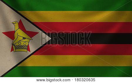 Vintage background with flag of Zimbabwe. Grunge style.