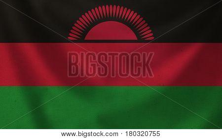 Vintage background with flag of Malawi. Grunge style.