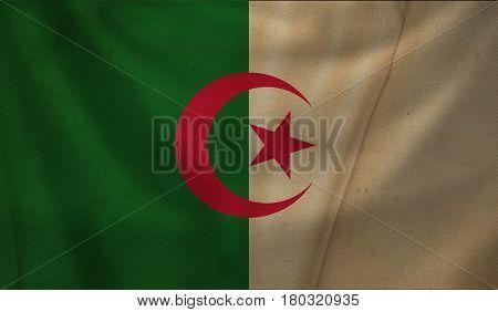 Vintage background with flag of Algeria. Grunge style.