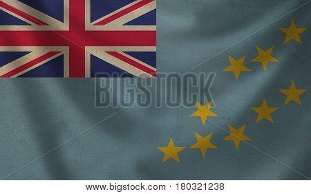 Vintage background with flag of Tuvalu. Grunge style.