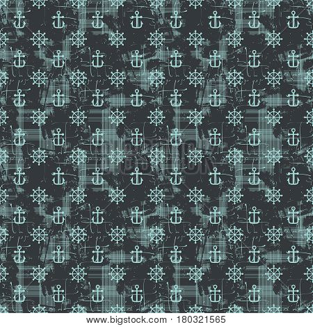 Grunge seamless pattern with handwheels and anchors. Vector illustration