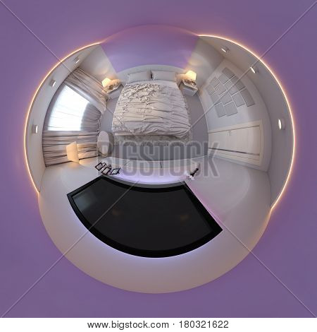 3d illustration spherical 360 degrees, seamless panorama of bedroom interior design. The bedroom is made in white and purple tones. Tiny little planet interior