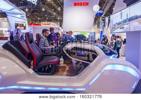 LAS VEGAS - JAN 08 : The Bosch booth at the CES show in Las Vegas on January 08 2017 CES is the world's leading consumer-electronics show.