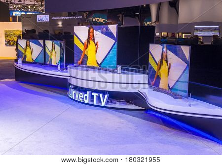LAS VEGAS - JAN 08 : The Haier booth at the CES show held in Las Vegas on January 06 2017 CES is the world's leading consumer-electronics show.