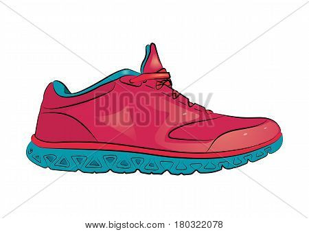 Pink sneaker with blue sole on a white background. Vector illustration.