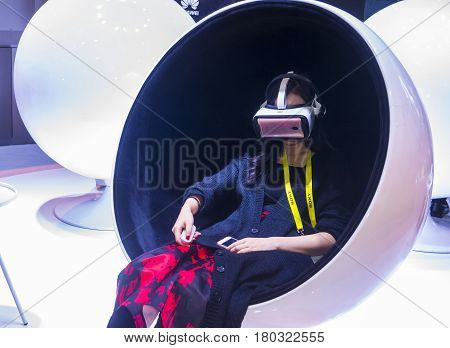 LAS VEGAS - JAN 08 : Virtual reality demonstration at The Huawei booth at the CES show in Las Vegas on January 08 2017 CES is the world's leading consumer-electronics show.