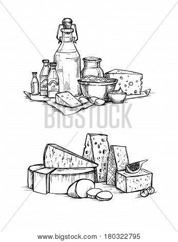 Hand Drawn Vector Illustrations. Cheese And Milk Set (mozzarella, Blue Cheese, Gouda, Parmesan, Maas