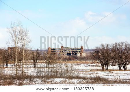 The image of an abandoned factory. The view from afar 2