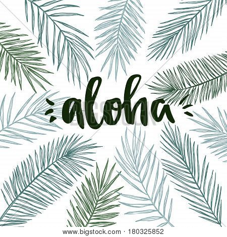 Hand Drawn Vector Illustration - Frame With Palm Leaves And Aloha Lettering. Tropical Design Element