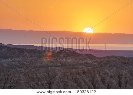 Desert Sunrise Over Salton Sea In Anza Borrego