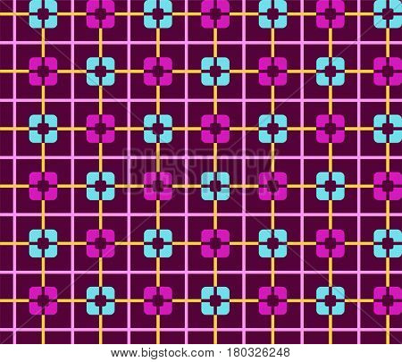 Geometric purple background with blue squares seamless color. Purple and light blue squares on a purple field. Vector illustration. Abstract, geometric pattern.