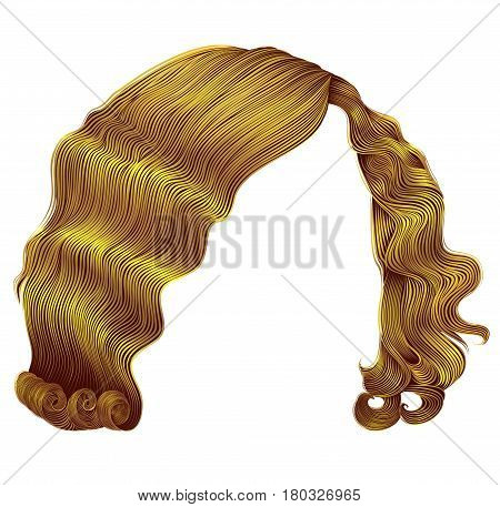 trendy woman hairs  kare bright yellow color . beauty fashion . retro style curls . realistic 3d .