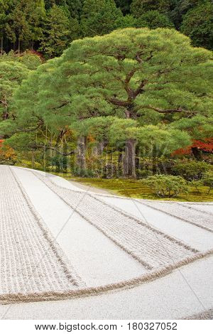 Japanese Zen Garden Meditation Stone In Lines Sand For Relaxation Balance And Harmony Spirituality O