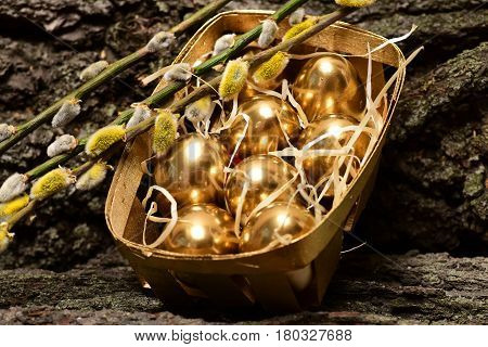 Box, Tray With Traditional Painted Golden Egg, Willow Branch