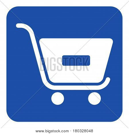 blue rounded square information road sign with white shopping cart minus remove icon