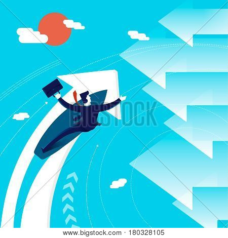 Business Change Of Direction Surfing Man Concept