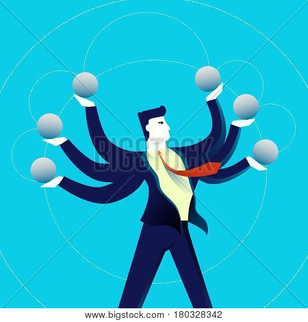Business Multitasking Man Concept Illustration