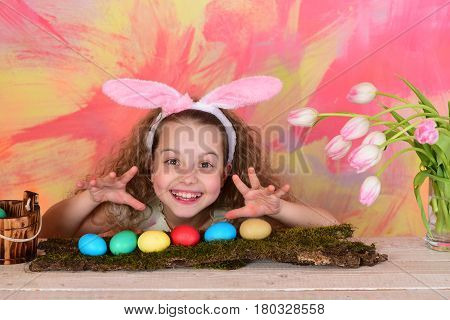 Happy Easter Girl In Bunny Ears With Colorful Eggs, Flowers
