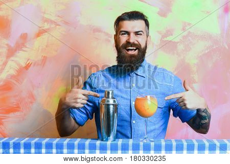 Brutal Caucasian Hipster With Alcohol Cocktail And Shaker