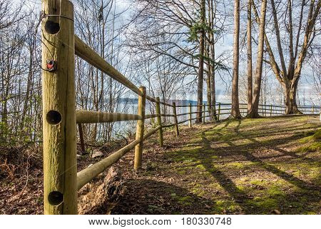 A view of a fence at Dash Point State Park in Dash Point Washington.