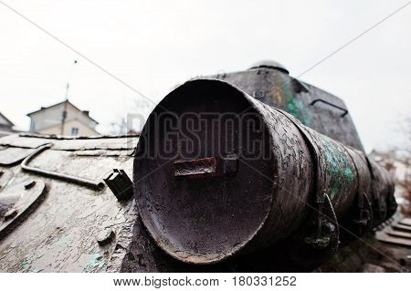 Petroleum tank of old vintage military tank. poster