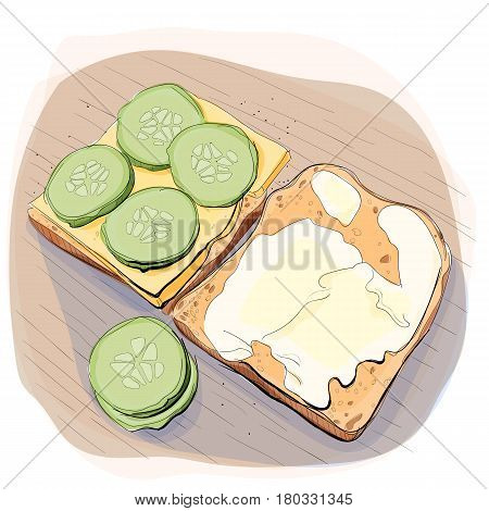 Color illustration of bread with butter, cucumber and cheese