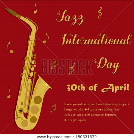 Red background with bright yellow saxophone for the Jazz Internationl Day