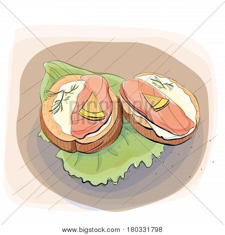 Color illustration of bread with butter and trout on a salad slice