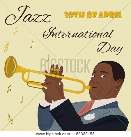 Banner for the Jazz International Day with yellow saxophones, piano and the musician playing the saxophone