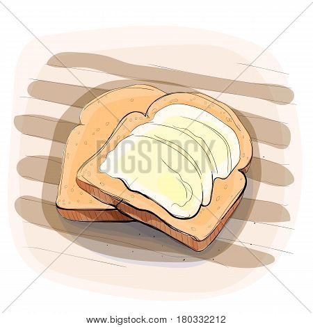 Color illustration of bread with butter on a tablecloth