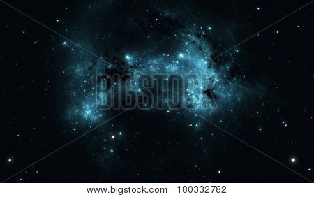 Outer space background with blue nebula and stars. Illustration