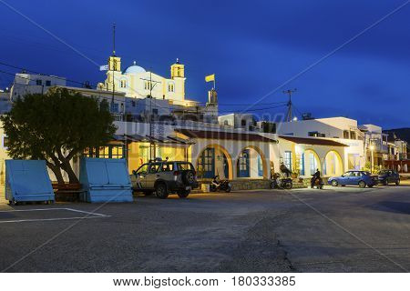 LIPSI, GREECE - MARCH 26, 2017: village of Lipsi island in Dodecanese, Greece on March 26.