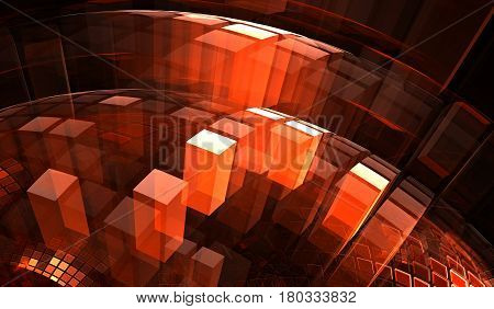 Red transparent blocks with illusion of depth and perspective. 3D illustration