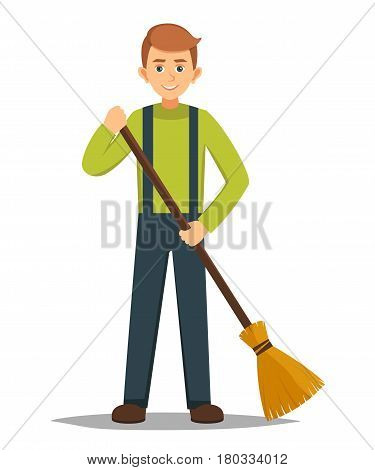 broom, street, guy, eco, practice, boy, brown, adult, vector, cleaner, strong, ecology, service, volunteer, trash, vertical, caucasian, worker, smiling, cute, flat, illustration, young, holding, face, garden, standing, sweeping, garbage, kid, hobby, teena